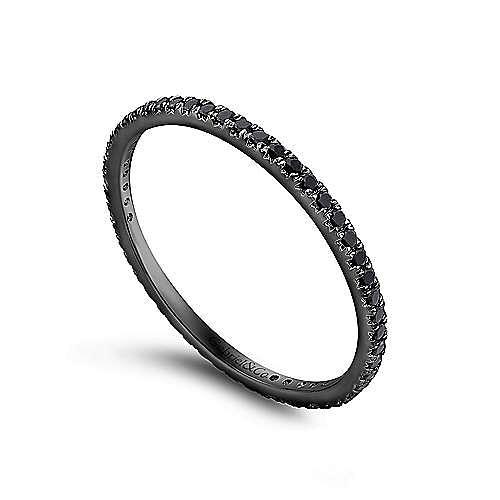 14k Gold With Black Rhodium Micro Pavé Set Black Diamond Eternity Band