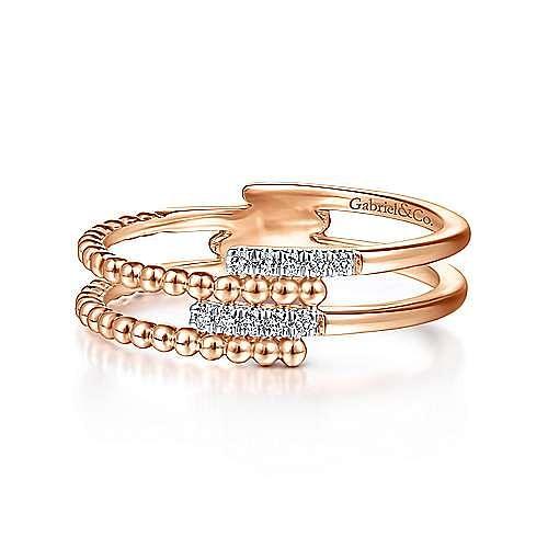 14k Pink Gold Beaded Fashion Diamond Ladies' Ring