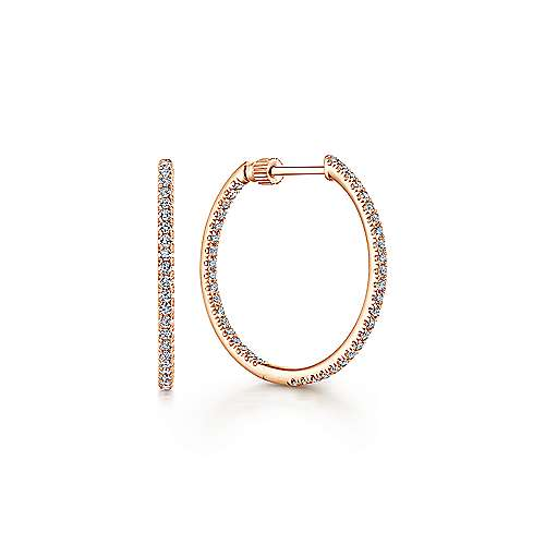 14k Rose Gold 20mm Inside Out Slim Diamond Hoop Earrings