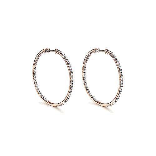 Gabriel - 14k Rose Gold 35mm Inside Out Slim Diamond Hoop Earrings