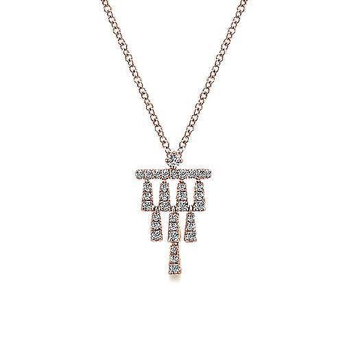 Gabriel - 14k Rose Gold Art Deco Fashion Necklace