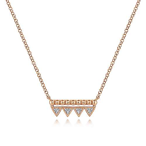 14k Rose Gold Beaded Diamond Triangle Bar Necklace