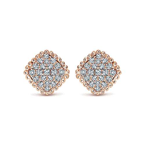 Gabriel - 14k Rose Gold Bujukan Stud Earrings