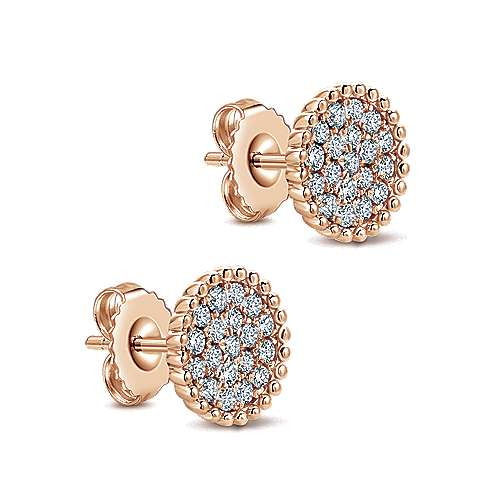 14k Rose Gold Bujukan Stud Earrings angle 2