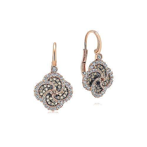 14k Rose Gold Cocoa Drop Earrings angle 1