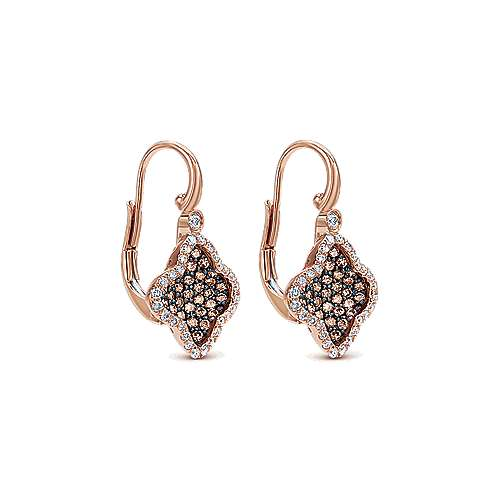 14k Rose Gold Cocoa Drop Earrings angle 2