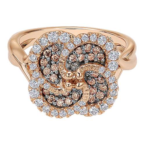 14k Rose Gold Cocoa Fashion Ladies' Ring angle 1
