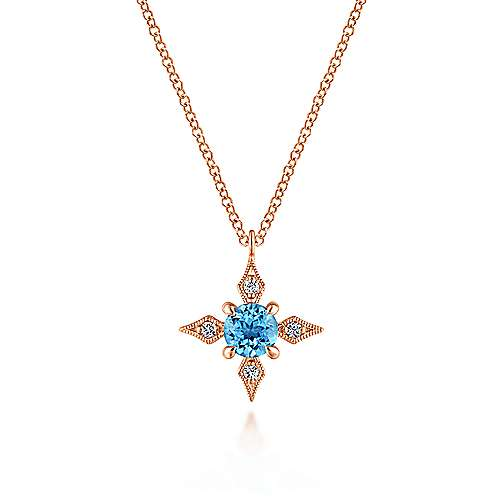 14k Rose Gold Color Solitaire Fashion Necklace angle 1