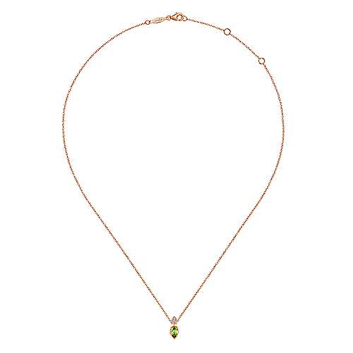 14k Rose Gold Color Solitaire Fashion Necklace angle 2