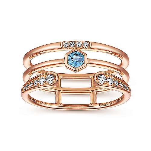 14k Rose Gold Constellations Fashion Ladies' Ring angle 4