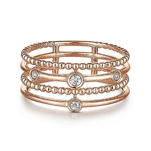 Gabriel - 14k Rose Gold Constellations Fashion Ladies Ring
