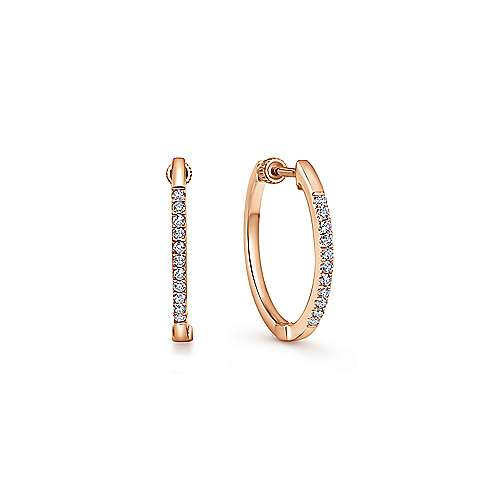 14k Rose Gold Contemporary Classic Hoop Earrings