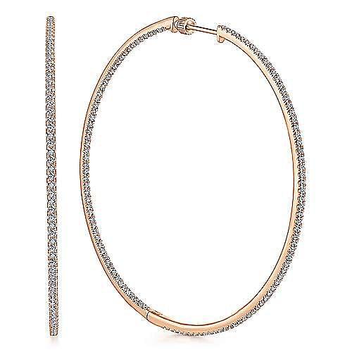 14k Rose Gold Contemporary Classic Hoop Earrings