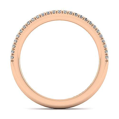 14k Rose Gold Contemporary Curved Wedding Band angle 2