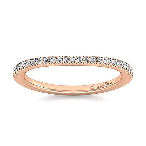 14k Rose Gold Contemporary Curved Wedding Band angle 5