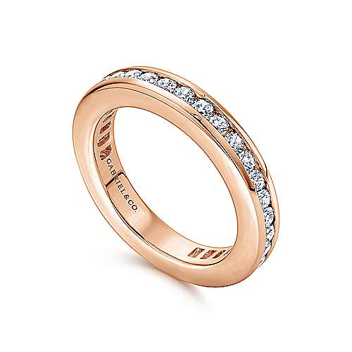 14k Rose Gold Contemporary Eternity Anniversary Band angle 3
