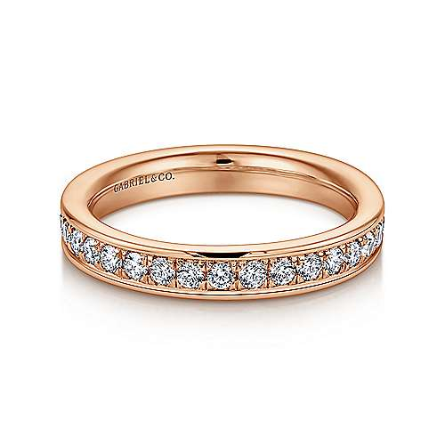 14k Rose Gold Contemporary Eternity Anniversary Band angle 1