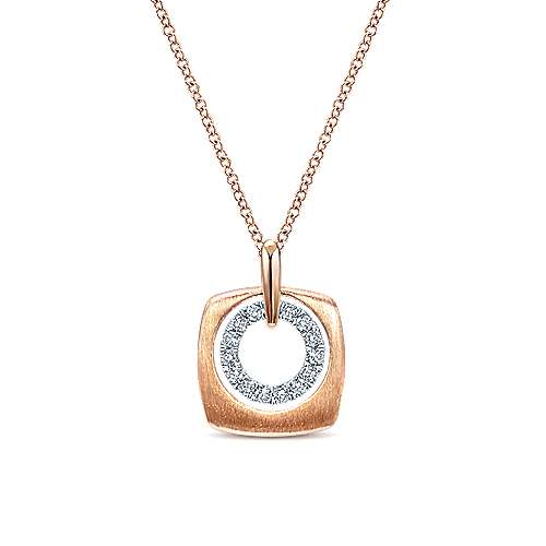 14k Rose Gold Contemporary Fashion Necklace angle 1