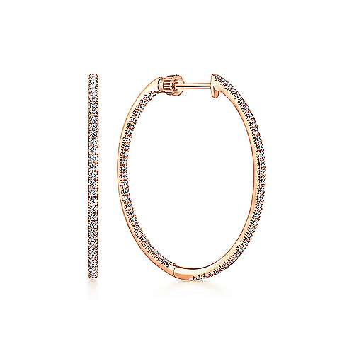 14k Rose Gold Contemporary Inside Out Diamond Hoop Earrings