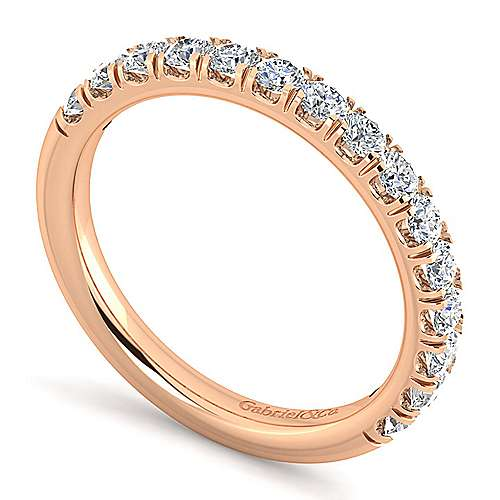 14k Rose Gold Contemporary Straight Wedding Band angle 3