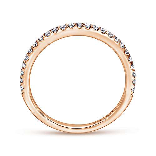 14k Rose Gold Contemporary Straight Wedding Band angle 2