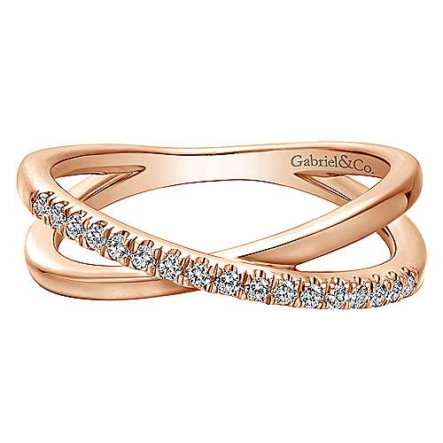 14k Rose Gold Contemporary Wide Band Ladies' Ring angle 1