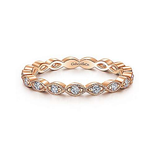 14k Rose Gold Contoured Diamond Eternity Stackable Ring
