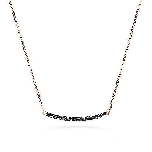 Gabriel - 14k Rose Gold Curving Black Diamond Bar Necklace