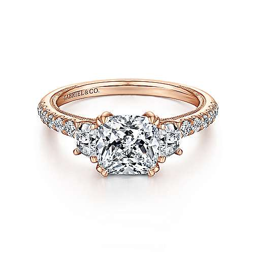 14k Rose Gold Cushion Cut 3 Stones Engagement Ring angle 1