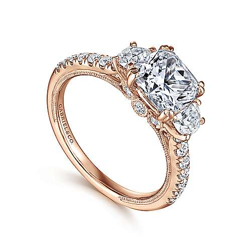 14k Rose Gold Cushion Cut 3 Stones Engagement Ring angle 3