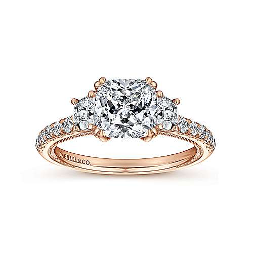 14k Rose Gold Cushion Cut 3 Stones Engagement Ring angle 5
