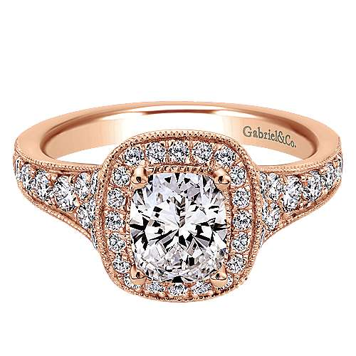 14k Rose Gold Cushion Cut Halo Engagement Ring angle 1