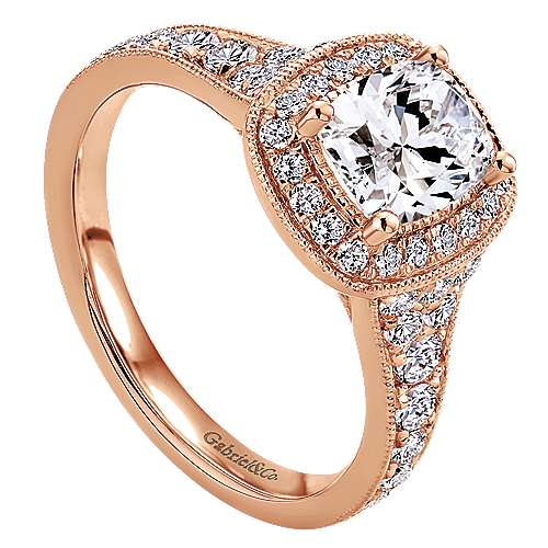 14k Rose Gold Cushion Cut Halo Engagement Ring angle 3