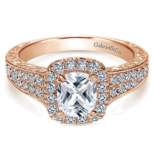 Gabriel - 14k Rose Gold Cushion Cut Halo Engagement Ring