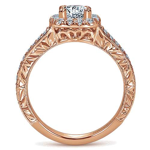 14k Rose Gold Cushion Cut Halo Engagement Ring angle 2