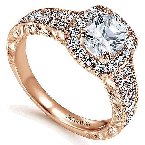 14k Rose Gold Cushion Cut Halo Engagement Ring angle 3