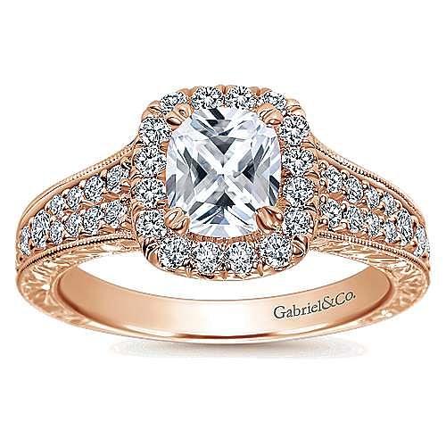 14k Rose Gold Cushion Cut Halo Engagement Ring angle 5