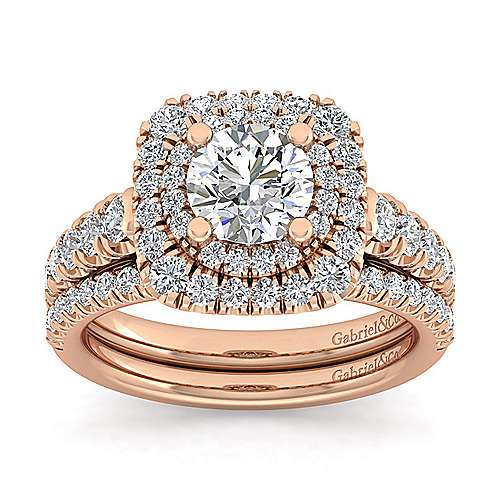 14k Rose Gold Cushion Double Halo Round Diamond Engagement Ring