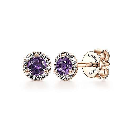 Gabriel - 14k Rose Gold Diamond Halo Amethyst Stud Earrings