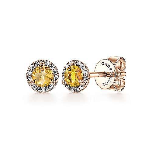 Gabriel - 14k Rose Gold Diamond Halo Citrine Stud Earrings