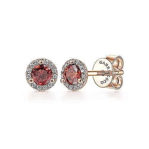 14k Rose Gold Diamond Halo Garnet Stud Earrings