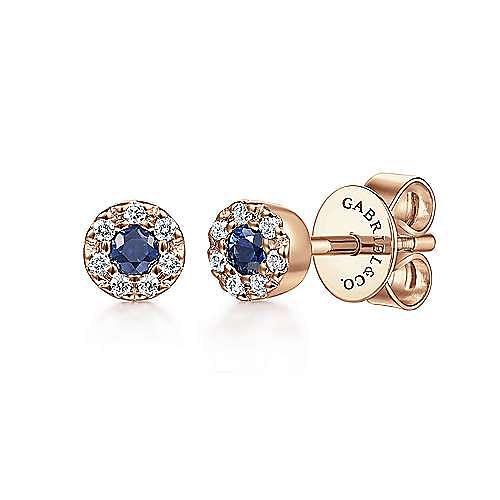 Gabriel - 14k Rose Gold Diamond Halo Sapphire Stud Earrings
