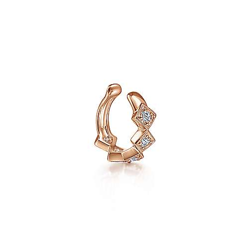 14k Rose Gold Diamond Square Earcuff Earring