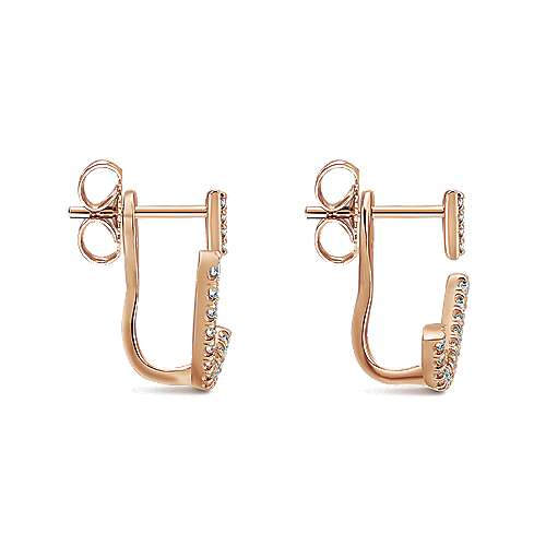 14k Rose Gold Double Earrings Peek A Boo Earrings angle 3