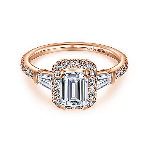 14k Rose Gold Emerald Cut Halo Engagement Ring angle 1