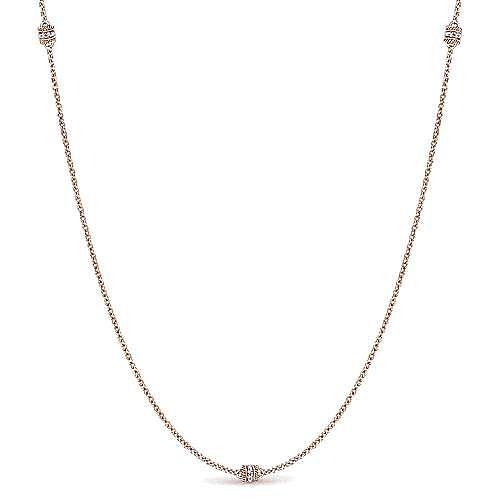 14k Rose Gold Endless Diamonds Station Necklace angle 1