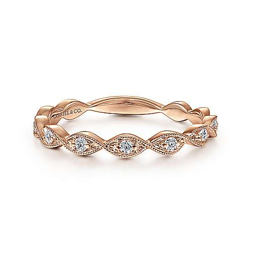 14k Rose Gold Entwined Stackable Ladies Ring