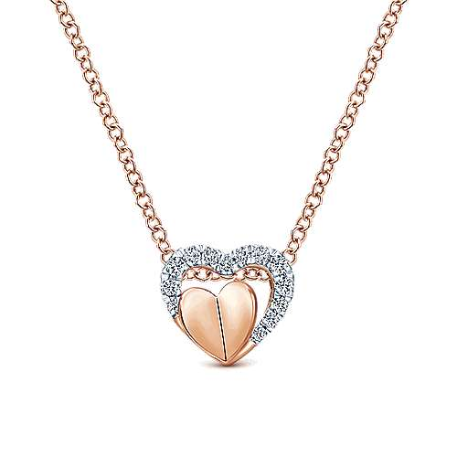 Gabriel - 14k Rose Gold Eternal Love Heart Necklace