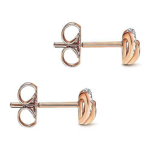 14k Rose Gold Eternal Love Stud Earrings angle 3