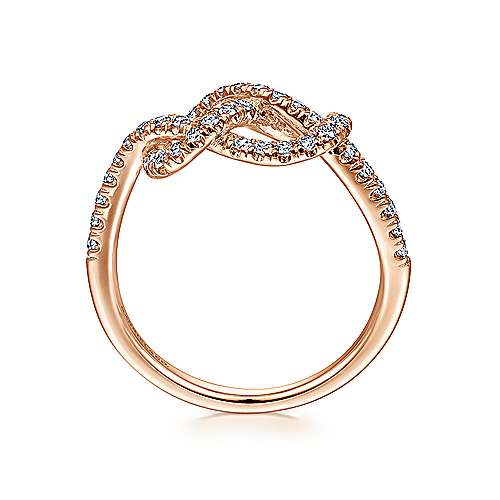 14k Rose Gold Eternal Love Twisted Ladies' Ring angle 2